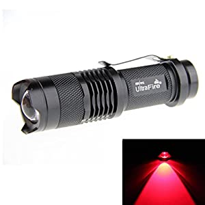 Ultrafire® 7W 300LM CREE Q5 LED 3-Mode Mini Black Shell Portable Flashlight Torch Adjustable Focus Zoom Lamp -Red Light