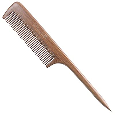 Breezelike No Static Green Sandalwood Comb Fine Tooth Teasing Tail Comb with Long and Thin Handle