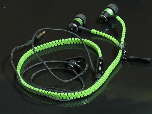 High Quality Stereo Bass Headset In Ear Metal Zipper Earphones Headphones With Mic 3.5Mm Jack Earbuds For Iphone 4 4S 5 5S 5C Samsung S Iv Mp3 Universal (Green)