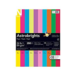 Neenah Astrobrights Premium Color Paper Assortment, 24 lb, 8.5 x 11 Inches, 200 Sheets, Charisma