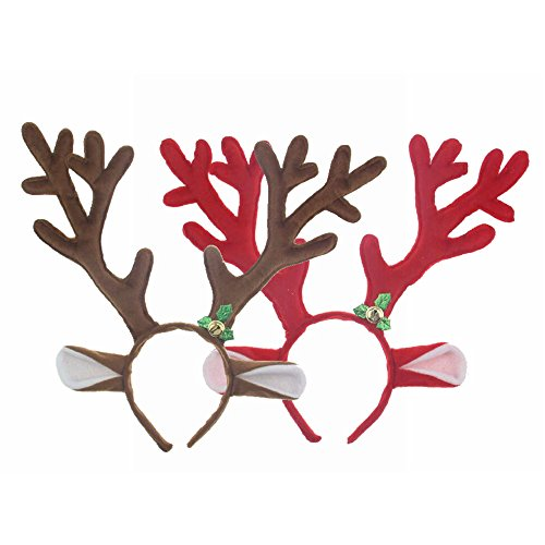 M2cbridge Set of 2 Reindeer Antlers Headbands Christmas Easter Party Hats (Frozen Sven Kids Reindeer Antlers)