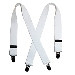 Solid Color Elastic Infant's Suspenders by Suspender Factory (White) One Size 21 inches long