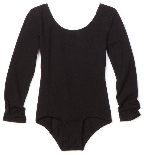 Danskin Little Girls' Long Sleeve Leotard, Black, Small (4-6)