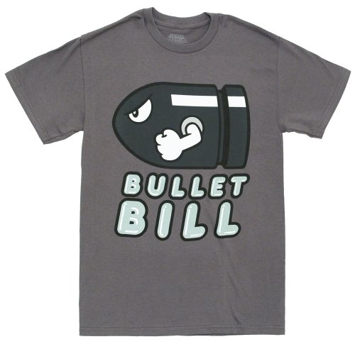 Nintendo Super Mario Bros Bullet Bill Video Game Adult T-Shirt Tee