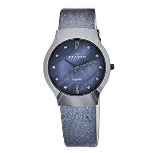 Skagen Women's 817SBLBC1 Quartz Ceramic Blue Mother-Of-Pearl Dial Watch