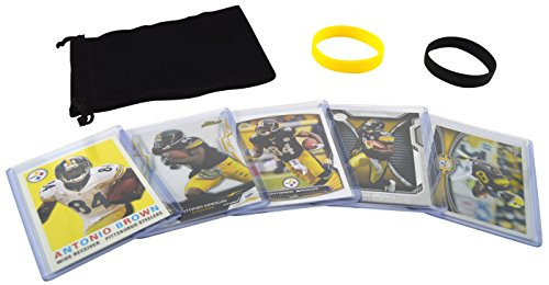 Antonio Brown (5) Football Cards & Wristbands Gift Pack Pittsburgh Steelers Assorted NFL Trading Cards #84 (1000 Nfl Cards compare prices)