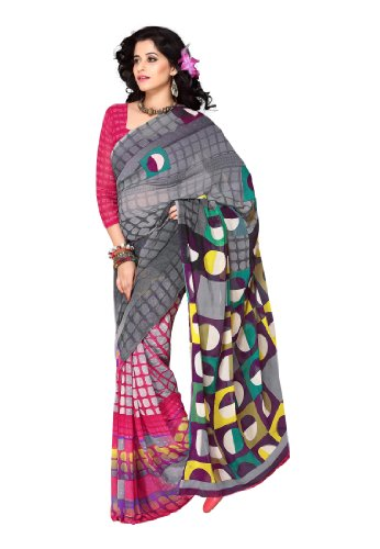 Fabdeal Stylish Indian Designer Wear Grey & Pink Printed Saree (MNWSR8312ADP)