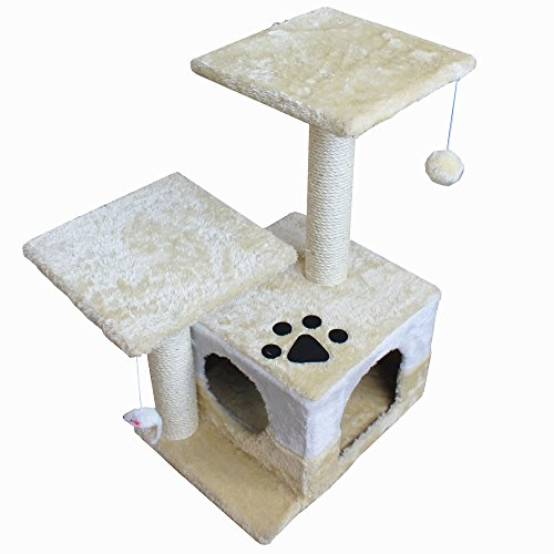 America Phoenix 30-inch Newest Cat Tree Condo Furniture Scratch Post Perch Post Pet House Perch Activity Trees, Beige