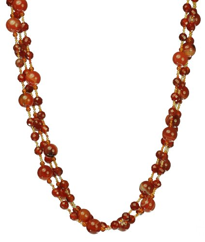 Red Dusk Faceted and Smooth Carnelian Beaded Necklace 17