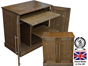 Solid Pine Desk, Handcrafted & Waxed 2 Door Computer Desk, Workstation, Hideaway, Hidden Home Office. Choice of Colours. No flat packs, No assembly (WS2D2)