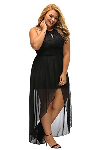 Gloria&Sarah Women's Front Keyhole Lace Halter Special Occasion Plus Size Mini Dress,Black,XL
