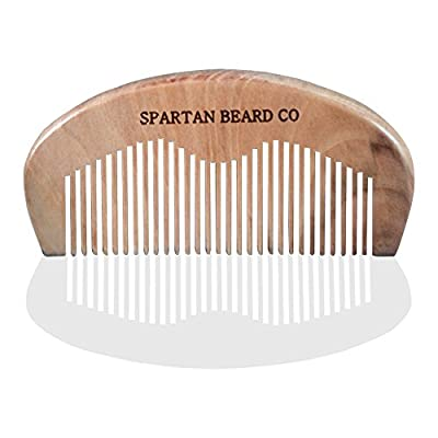 Wooden Beard Comb For Superior Men By Spartan Beard CoTM: Finest Quality Pocket Comb For Beard & Moustache Grooming - Anti Static, Pocket Size Hair Comb-Beard Brush- Comes In A Button and String Envelope - Best Gift For Men