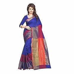 Sai Vira Fashion Cotton Zari Saree (SVF37914226120_Blue)