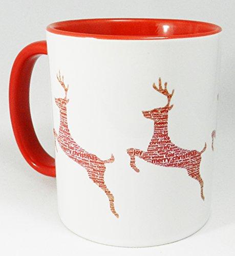 Christmas Reindeer Mug with red glazed inner and handle