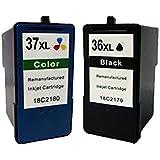 2 Compatible Lexmark 36XL & 37XL Cartouche d'encre pour X3650 X4650 X5650 X6650 Z2420 X3630 X4630 Z2400 Z2410 X6675