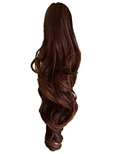 """22"""" PONYTAIL Clip in Hair Extensions WAVY REVERSIBLE Claw Clip 25 Colours (Medium Brown #6)"""