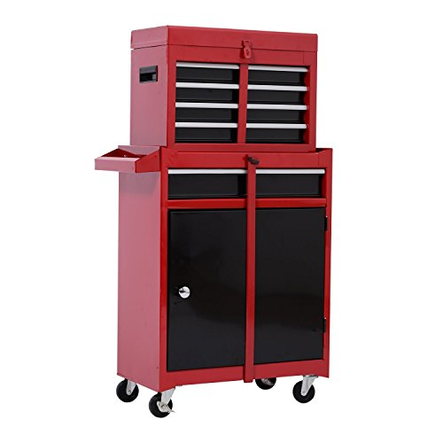 HomCom Rolling Tool Cabinet Chest with 5 Drawers and Removable Tool Box – Red and Black