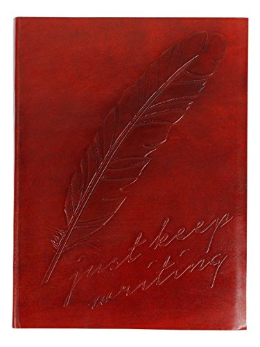 "Store Indya Leather Blank Journal Diary Notebook Hand Embossed Sketchbook with Feather Motif 75 Sheets 150 Pages Unlined Eco-friendly (8"" x 6"")"