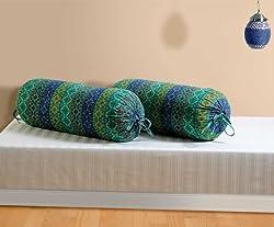 Swayam Drape and Dream Cotton 2 Piece Bolster Cover Set - Multi Blue (BCP02-1423)