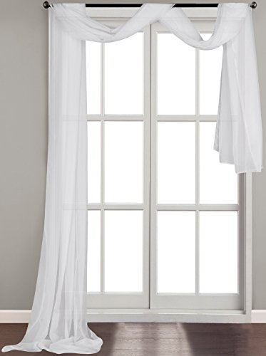 Solid White Luxurious Voile Sheer Scarf Valance - Soft Sheer Window Panel Scarves Curtains - 54 Inches Wide by 216 Inches Long - Flowy Design - by Utopia Bedding (Window Curtain Scarf compare prices)