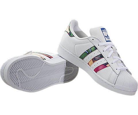 Adidas Originals Women's Superstar W Fashion Sneaker, White/White/Lab Blue, 7.5 M US