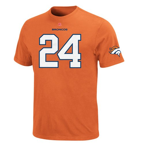 Denver Broncos Champ Bailey #24 Name And Number T-Shirt (Orange) M at Amazon.com