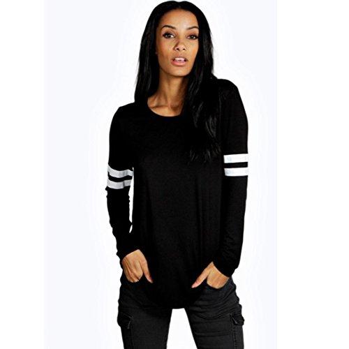 Fheaven Fashion Women Blouse Casual Loose Long Sleeve T-shirt (M, Black)