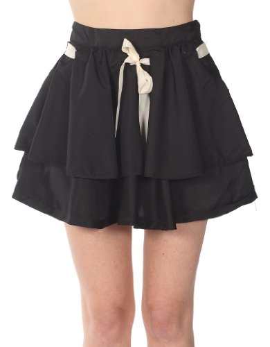 Cotton Express Tiered Skirt With Ribbon Belt Tie Black-Ivory Medium