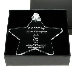 ... acrylic star gift, Unique page boy gift idea, wedding page boy present