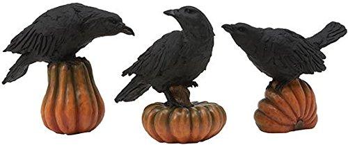 Crows On Pumpkins Tabletop Decor Set Of 3, SET OF THREE, ORANGE BLACK