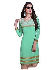 Surat Tex Turquoise Color Faux Georgette Party Wear Embroidered Kurti-E346KI1008SMXL