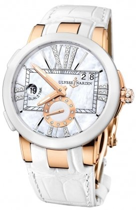 LADIES ULYSSE NARDIN EXECUTIVE DUAL TIME LADY ROSE GOLD WATCH