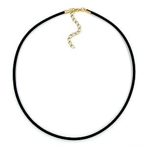 D' Aro Shop24® Band, 3mm rubber, 42cm, 42cm gold-tone