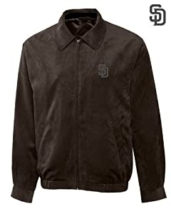 San Diego Padres Mens Micro Suede City Bomber Jacket by Cutter & Buck