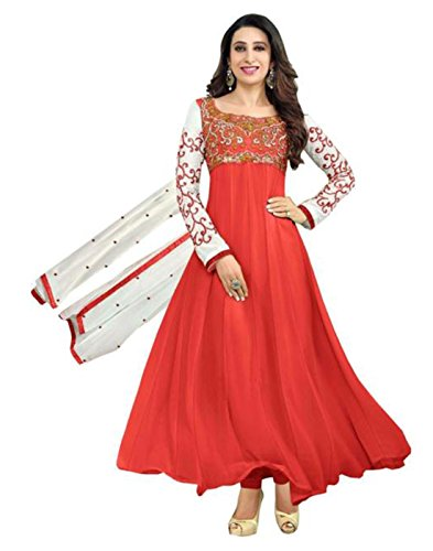 Alethia Enterprise Red Colored Faux Georgette Embroidered Traditional Wear Semi-Stitched Anarkali Suit-ALJ615DL104  available at amazon for Rs.519