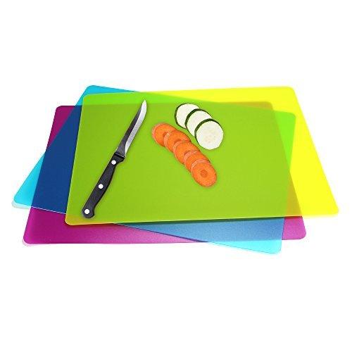 Flexible Plastic Cutting Board Mats set, Colorful Kitchen Cutting Board Set of 3 Colored Mats (Kitchen Cutting Board Plastic compare prices)