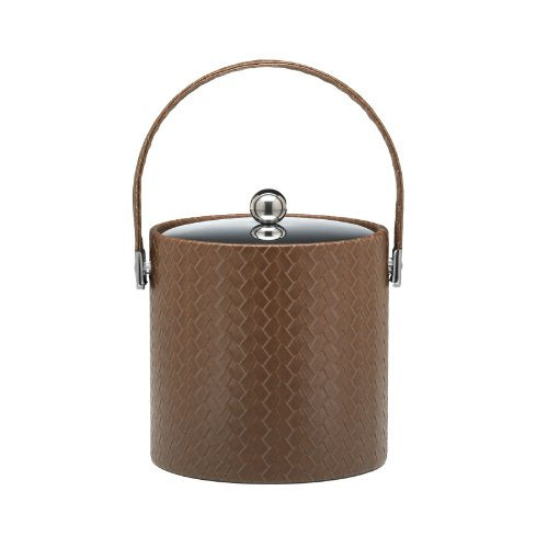 Kraftware Ice Bucket With Stitched Handle And Metal Cover, Brown - 3 Quart