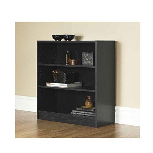 Mainstays 3-Shelf Bookcase | Wide Bookshelf Storage Wood Furniture (Black) (3 Shelf Bookshelf compare prices)
