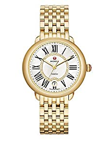 MICHELE Women's MWW21B000017 Serein 16 Analog Display Swiss Quartz Gold Watch
