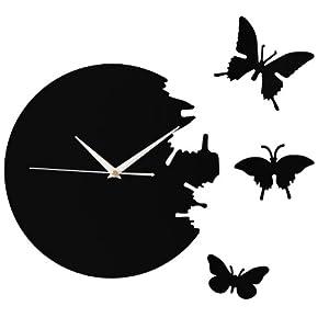 SoBuy EUH51-Sch Horloge décorative Sans Tic-Tac, Horloge pour la cuisine pour les enfants, Pendule murale acrylique- Noir