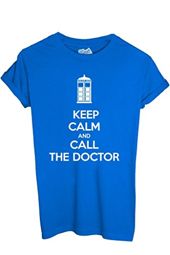 T-Shirt KEEP CALM DOCTOR WHO - FILM by iMage Dress Your Style - Bambino-XS-BLU ROYAL