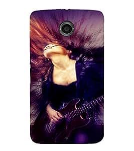 PrintVisa Music Girl Art 3D Hard Polycarbonate Designer Back Case Cover for Motorola Motorola Google Nexus 6
