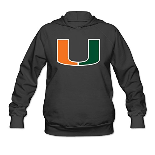 PHOEB Womens Sportswear Drawstring Hoodie Sweatshirt,university Of Miami Black Small (Jimmy Johnson License Plate Frame compare prices)