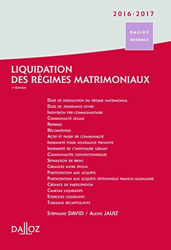 liquidation des régimes matrimoniaux (édition 2016/2017)