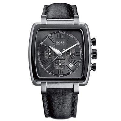 Hugo Boss Men's Steel Chronograph Leather Strap Watch 1512313 – Black Dial with Date Display & Roman Numerals