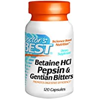 Doctors Best Betaine HCL, Pepsin & Gentian Bitters Capsules 120-Count Bottle