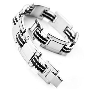 Justeel Homme Inoxydable Acier Bracelet Bracelet Menotte Chaîne Argent Noir Poignet Lien