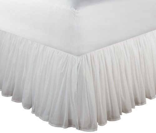Greenland Home Fashions Cotton Voile 18-Inch White Bed Skirt, Twin