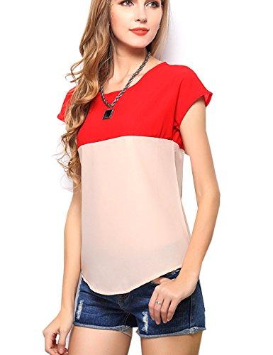 Aishang Women's Ladies Summer Casual Short Sleeve Chiffon T-shirt Tops Blouse