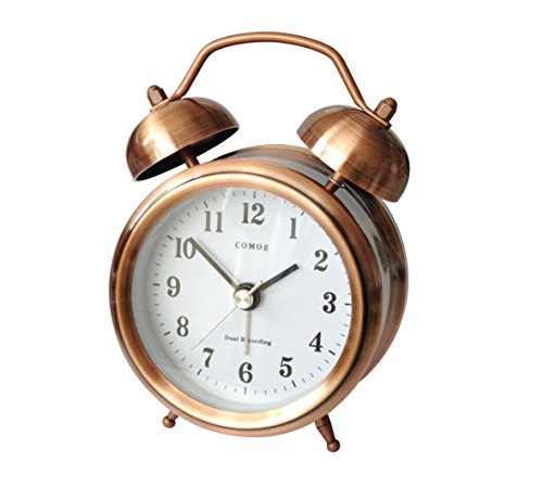 Generic Small Twin Bell Table Clock w/ Voice Message Recorder and Daily Alarm, Copper Colour